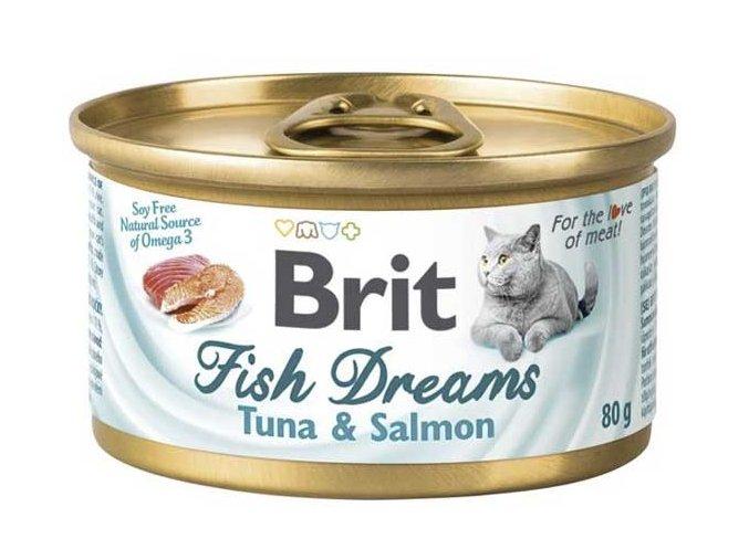 Brit cat Fish Dreams konzerva Tuňák a Losos 80 g