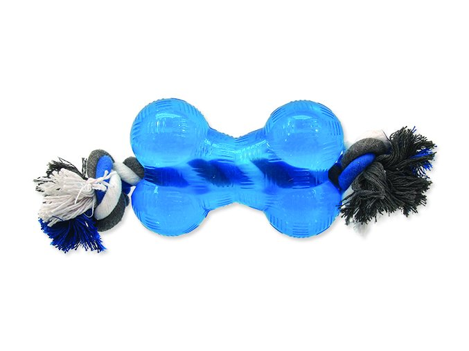 Hračka DOG FANTASY Strong kost gumová s provazem modrá