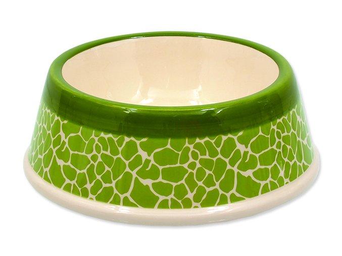 Miska DOG FANTASY keramická žirafa zelená 18 cm 0,45 l