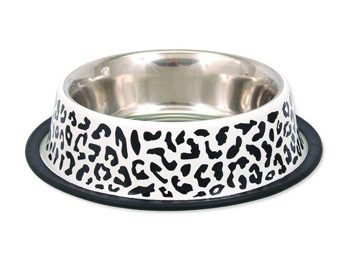 Miska DOG FANTASY nerezová s gumou leopard 25 cm 0,9 l