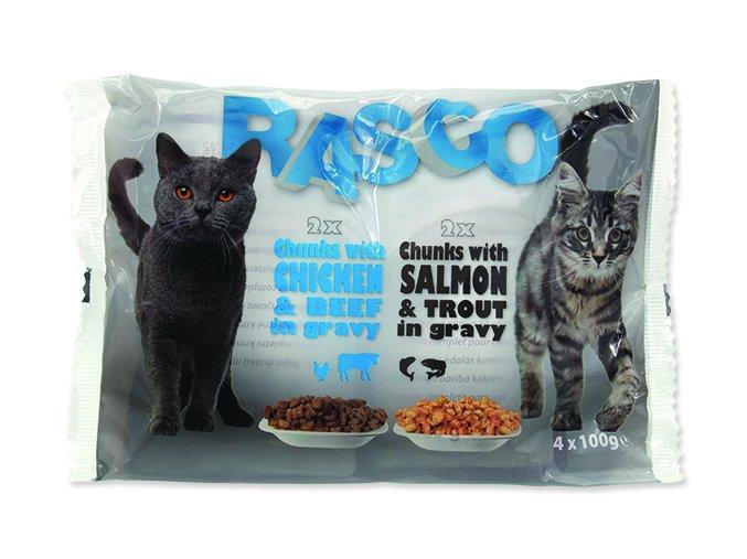RASCO Cat Kapsička s lososem a pstruhem / s kuřecím a hovězím 4 x 100g