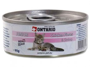 ONTARIO konzerva junior Chicken Pieces + Shrimp 95g