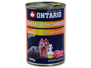 ONTARIO konzerva chicken, carrots, salmon oil 400g