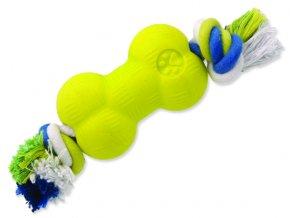 Hračka DOG FANTASY Strong Foamed kost guma s provazem 8,8 cm