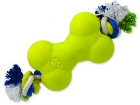 Hračka DOG FANTASY Strong Foamed kost guma s provazem 13,9 cm