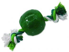 Hračka DOG FANTASY Strong Mint míček guma s provazem zelený 9,5 cm