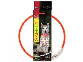LED obojek nylonový oranžový  65 cm dobíjecí USB