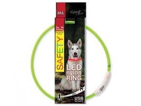 LED Obojek nylonový zelený  65 cm dobíjecí USB