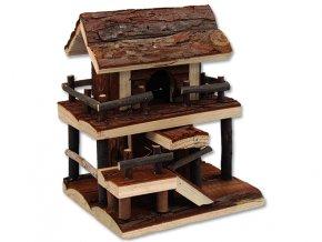 Domek SMALL ANIMALS dvoupatrový dřevěný s kůrou 17 x 15 x 20 cm