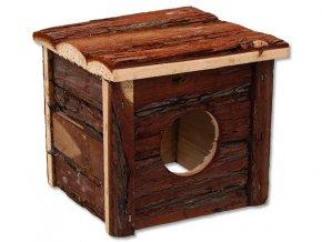 Domek SMALL ANIMALS dřevěný s kůrou 15,5 x 15,5 x 14 cm