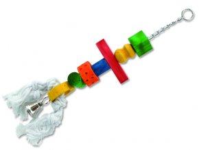 Hračka BIRD JEWEL rolnička závěsná dřevo - provaz 50 cm