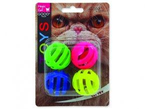 Hračka MAGIC CAT míček děrovaný plastový s rolničkou 3,75 cm 4ks