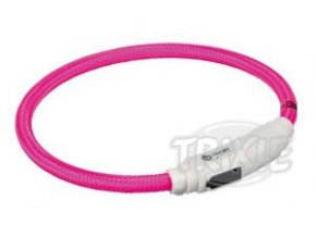 Svítící kroužek USB na krk pro kočky 35 cm/7 mm růžový