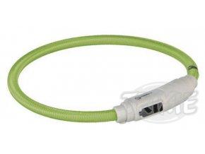 Svítící kroužek USB na krk pro kočky 35 cm/7 mm zelený