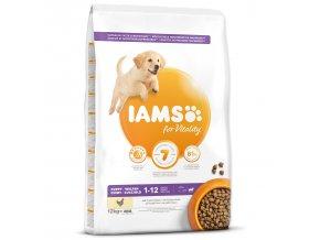 IAMS Dog Puppy Large Chicken 12kg  + IAMS Naturally CAT mrazem sušené 100% kuřecí kostky 25g
