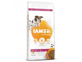 IAMS Dog Senior Small & Medium Chicken 12kg  + IAMS Naturally CAT mrazem sušené 100% kuřecí kostky 25g