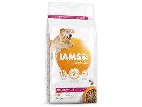 IAMS Dog Senior Large Chicken 3kg  + IAMS Naturally CAT mrazem sušené 100% kuřecí kostky 25g