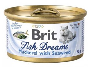 Brit cat Fish Dreams konzerva Mackerel & Seaweed 80 g