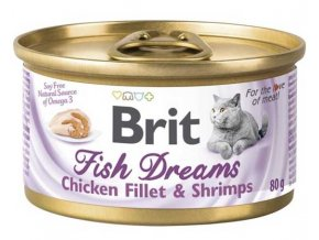 Brit cat Fish Dreams konzerva Chicken & Shrimps 80 g