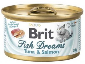 Brit cat Fish Dreams konzerva Tuňák a Losos 80 g