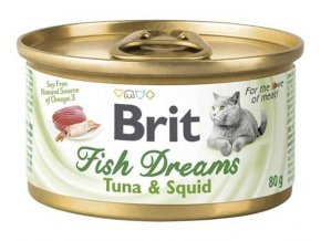 Brit cat Fish Dreams konzerva Tuna & Squid 80 g