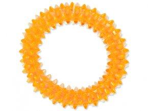 Hračka DOG FANTASY kroužek vroubkovaný oranžový 7 cm