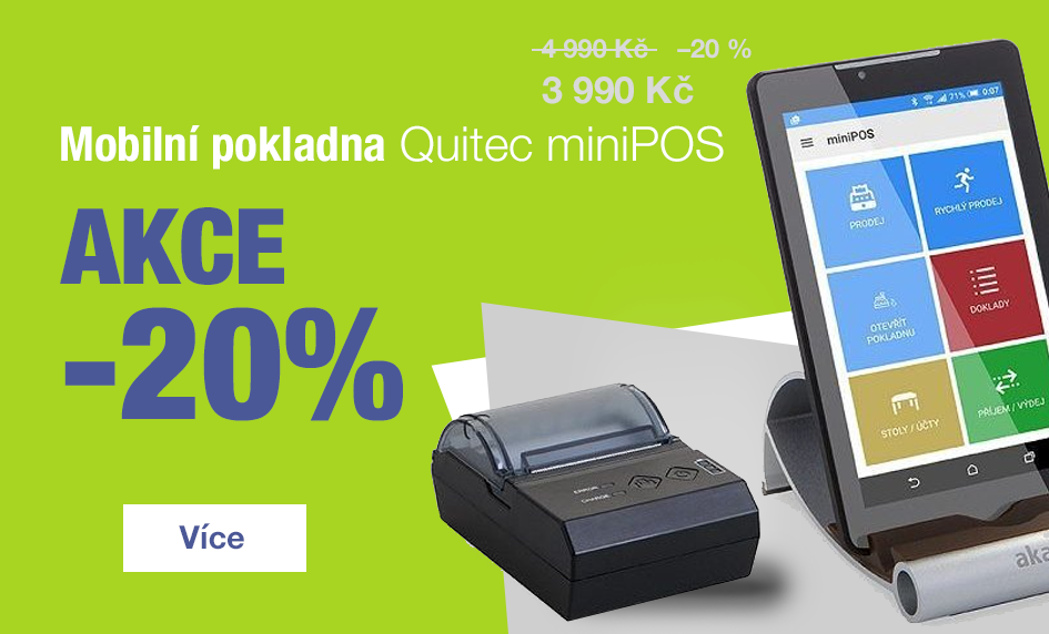 Akční sleva 20% - Mobilní pokladna miniPOS za 3.990 Kč