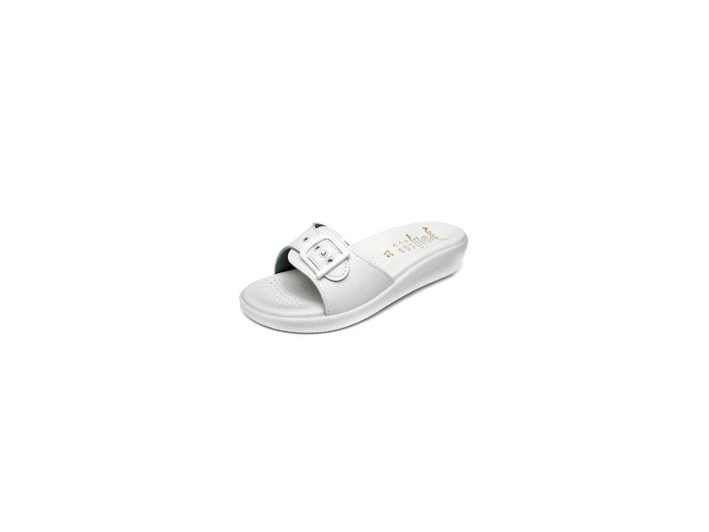 Dámský jednopáskový pantofel 145-6 Bílá