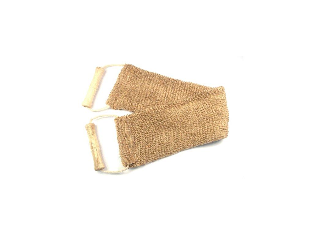 MAGNUM/175-mycí a masážní pás sisal do koupelny + dřevěné rukojeti