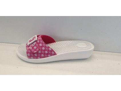 Masážní pantofle růžové/květinový vzor
