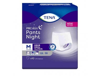 TENA Pants Night Super M,Kalhotky abs.natahovací,boky 80-110cm,2010ml,10ks