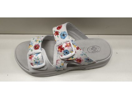 Dámský pantofel s přezkami - N/517/55 Flowers