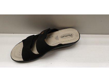 Dámská pantofle na suchý zip ČERNÁ