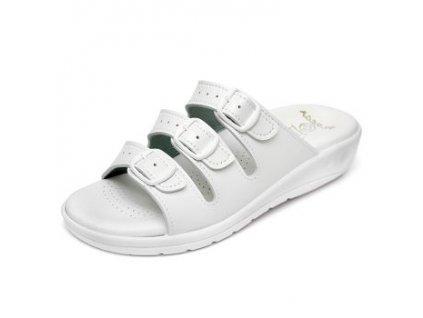 Dámský třípáskový pantofel 147 Bílá