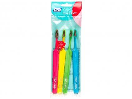 TePe Colour Compact x-soft zubní kartáčky 4 ks