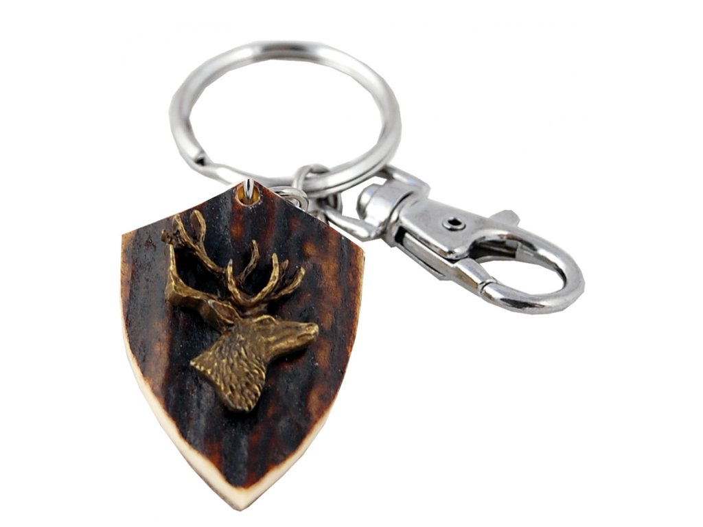 parohová klíčenka erb - jelen hlava