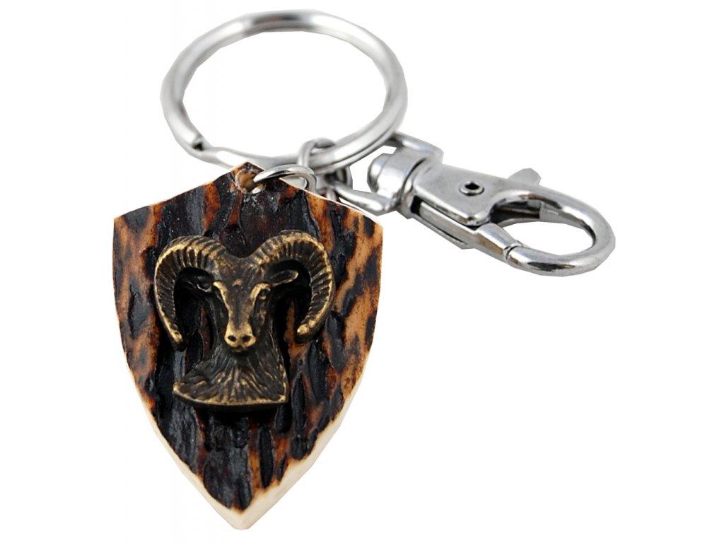 parohová klíčenka erb - muflon