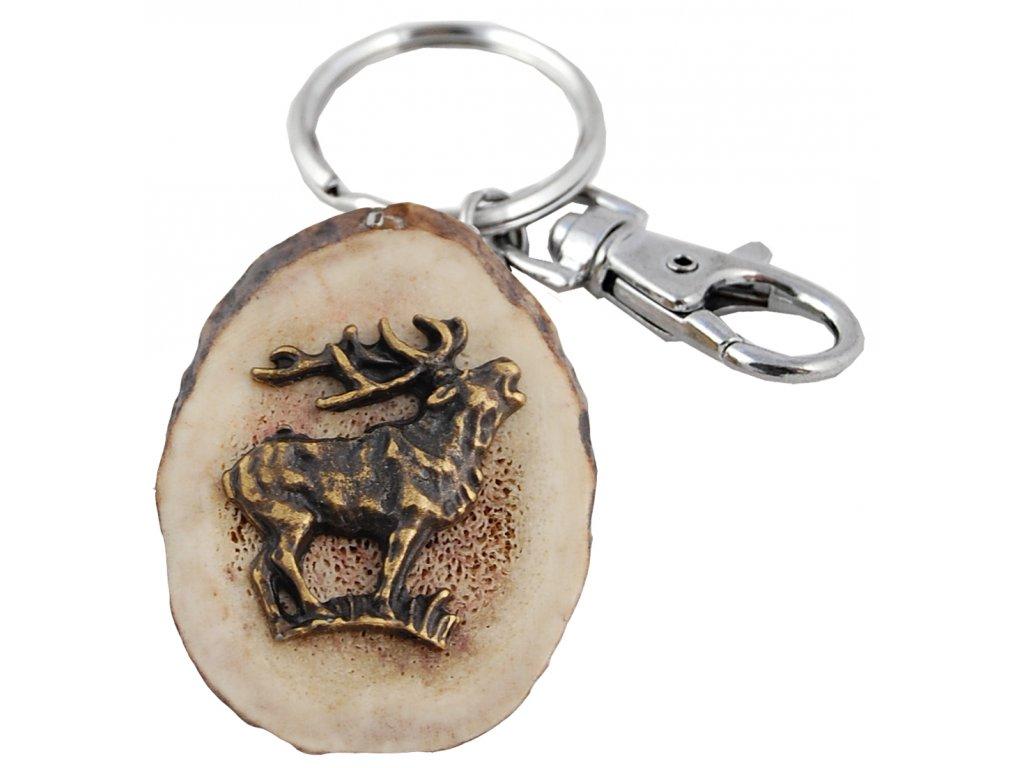 parohová klíčenka řez - jelen postava