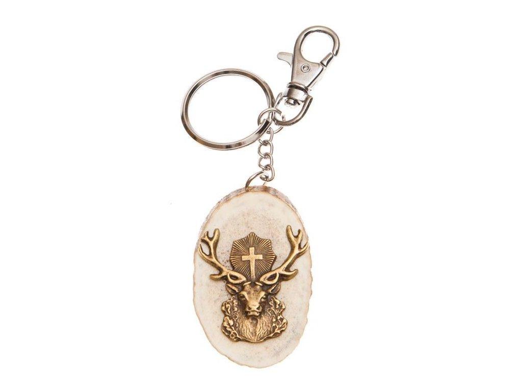 parohová klíčenka řez - svatý Hubert