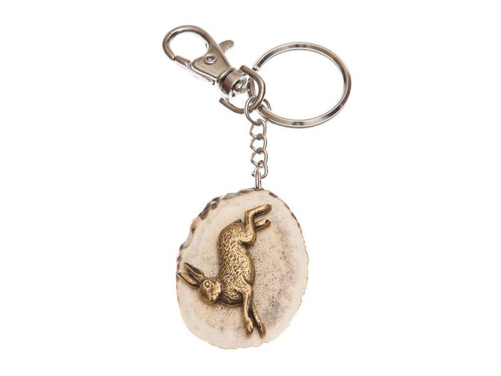 parohová klíčenka řez - zajíc v běhu