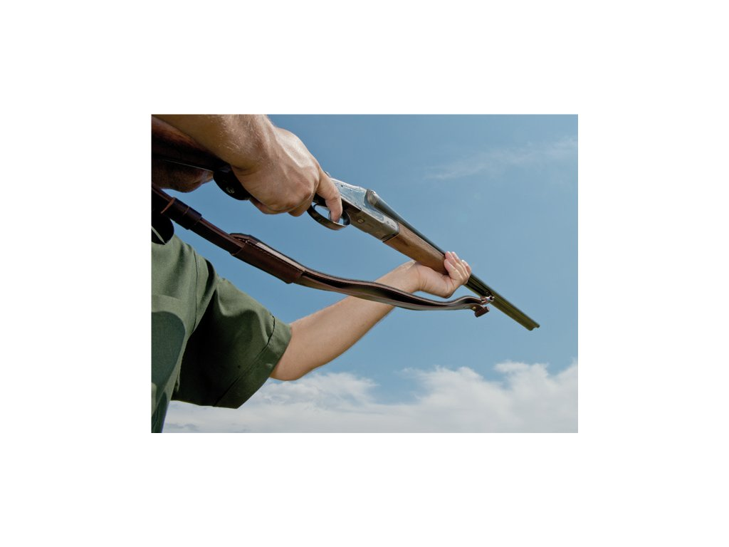 kožený stahovací řemen na zbraň podšitý protiskluzovou gumou