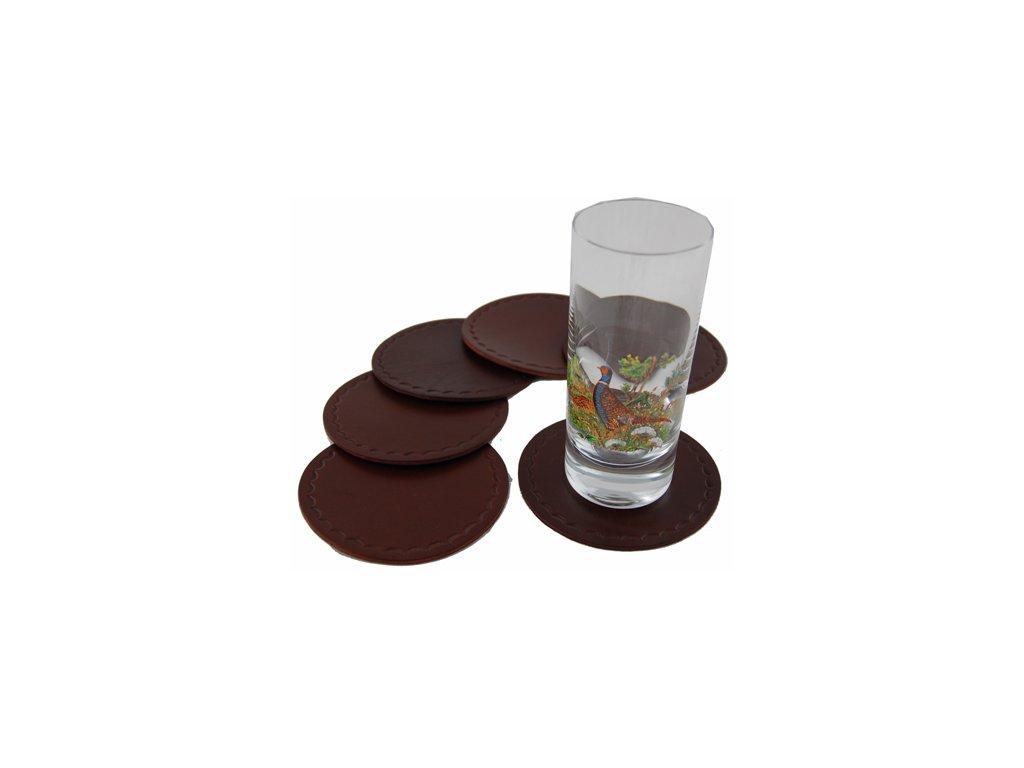 Kožené tácky pod skleničky