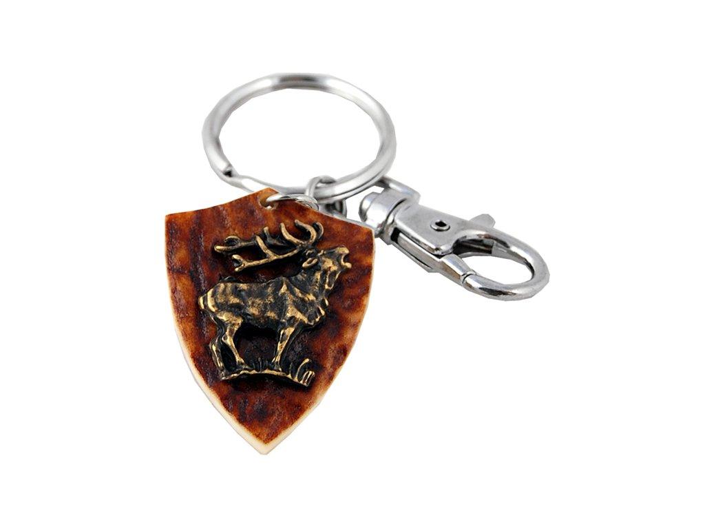 parohová klíčenka erb - jelen postava