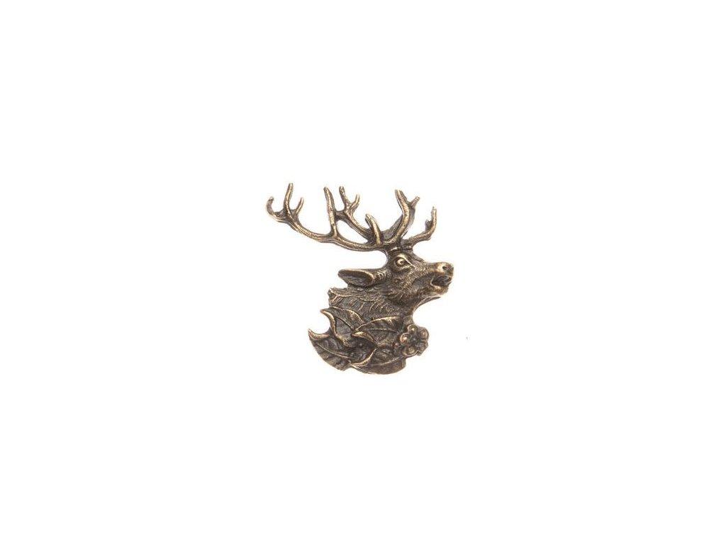 Hlava jelena s lístky (odznak na klobouk)
