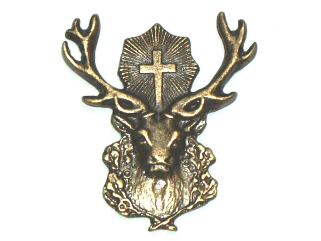 odznak na klobouk - svatý Hubert