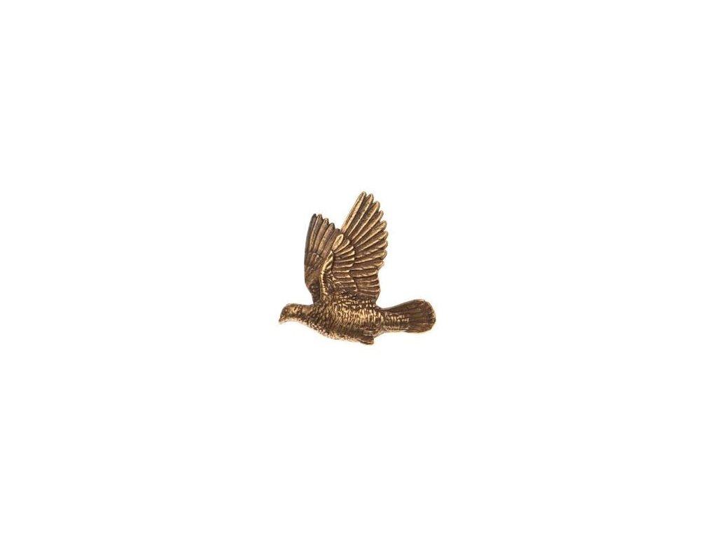 odznak na klobouk - holub v letu