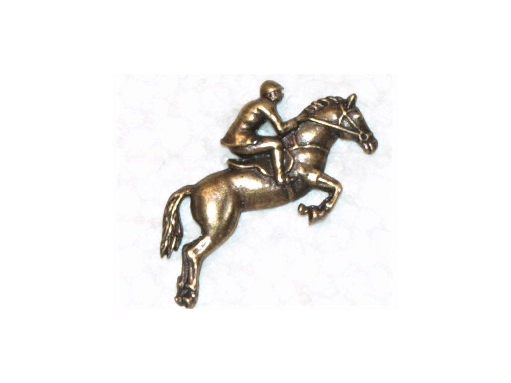 odznak na klobouk - kůň s jezdcem
