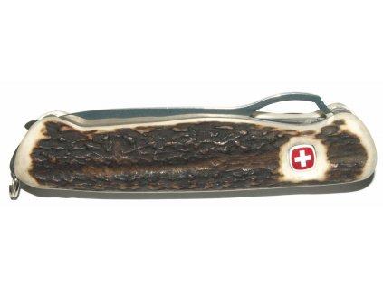 Originální švýcarský nůž značky Wenger osazen pravým parohem (nůž+pilka)