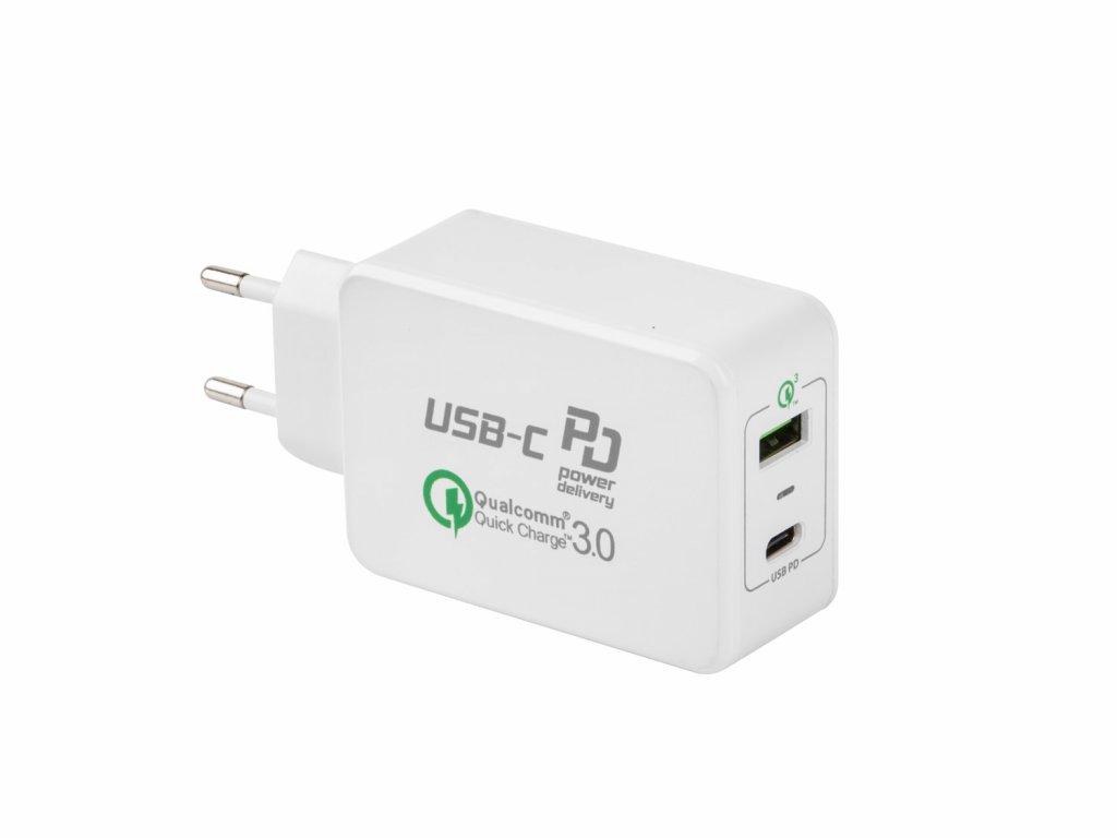 Universální nabíječka PD + QC 3.0 Natec 6A, 1xType-C PD + 1x USB