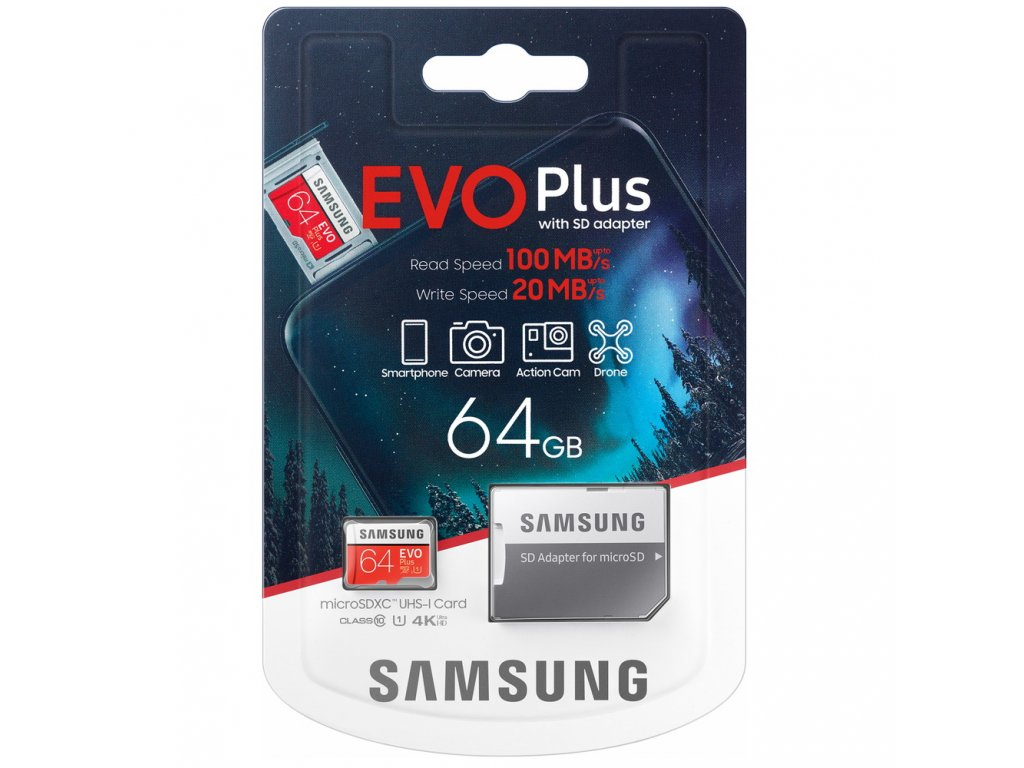 Samsung MicroSD Card EVO+ 64GB Class10 + Adapter MB-MC64HA/EU